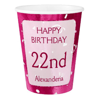 "Personalize: ""Happy Birthday"" Fuchsia Textured Paper Cup"