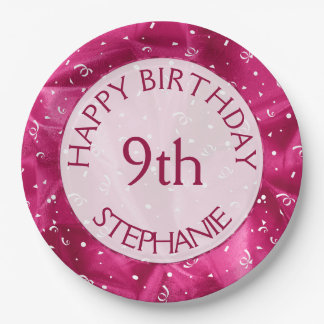 "Personalize: ""Happy Birthday"" Fuchsia Textured Paper Plate"