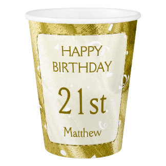 "Personalize: ""Happy Birthday"" Gold Textured Paper Cup"