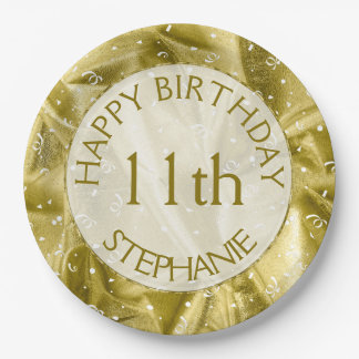 """Personalize: """"Happy Birthday"""" Gold Textured Paper Plate"""