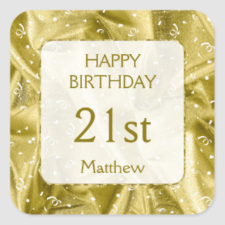 "Personalize: ""Happy Birthday"" Gold Textured SQ Square Sticker"
