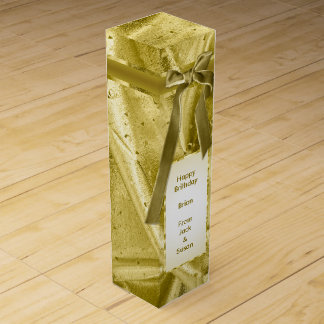 "Personalize: ""Happy Birthday"" Gold Textured Wine Gift Box"