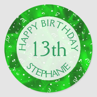 "Personalize: ""Happy Birthday"" Green Textured Classic Round Sticker"