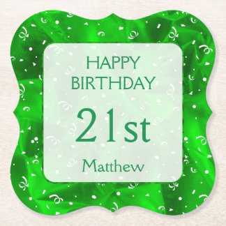"""Personalize: """"Happy Birthday"""" Green Textured Paper Coaster"""