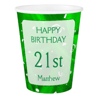 "Personalize: ""Happy Birthday"" Green Textured Paper Cup"