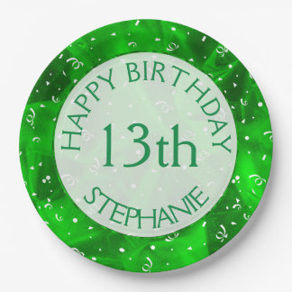 """Personalize: """"Happy Birthday"""" Green Textured Paper Plate"""