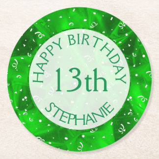 """Personalize: """"Happy Birthday"""" Green Textured Round Paper Coaster"""