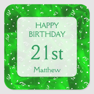 "Personalize: ""Happy Birthday"" Green Textured SQ Square Sticker"