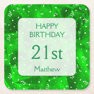 """Personalize: """"Happy Birthday"""" Green Textured Square Paper Coaster"""