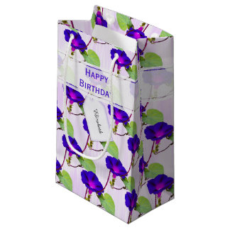 "Personalize:  ""Happy Birthday"" Morning Glory Pic Small Gift Bag"