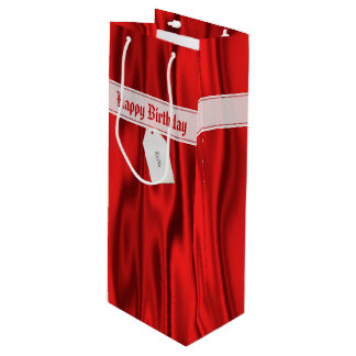 """Personalize """"Happy Birthday"""" on Faux Red Satin Wine Gift Bag"""