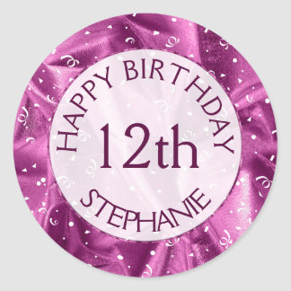"""Personalize: """"Happy Birthday"""" Orchid Textured Classic Round Sticker"""