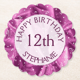 "Personalize: ""Happy Birthday"" Orchid Textured Paper Coaster"