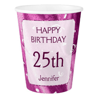"Personalize: ""Happy Birthday"" Orchid Textured Paper Cup"