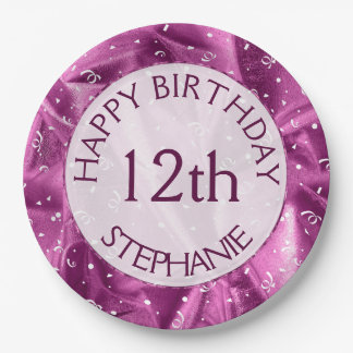 """Personalize: """"Happy Birthday"""" Orchid Textured Paper Plate"""