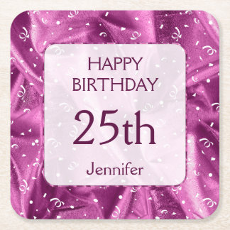 "Personalize: ""Happy Birthday"" Orchid Textured Square Paper Coaster"