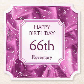 Personalize: Happy Birthday Orchid Ticket Shape Paper Coaster