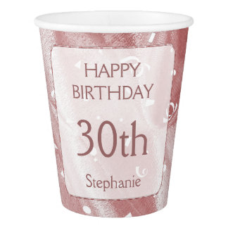 "Personalize: ""Happy Birthday"" Pink Textured Paper Cup"