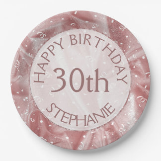 """Personalize: """"Happy Birthday"""" Pink Textured Paper Plate"""