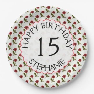Personalize: Happy Birthday Red Roses Pattern 9 Inch Paper Plate