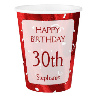 "Personalize: ""Happy Birthday"" Red Textured Paper Cup"