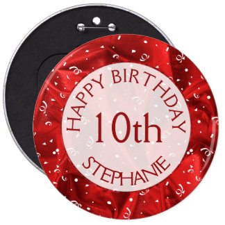 "Personalize: ""Happy Birthday"" Red Textured Round 6 Cm Round Badge"