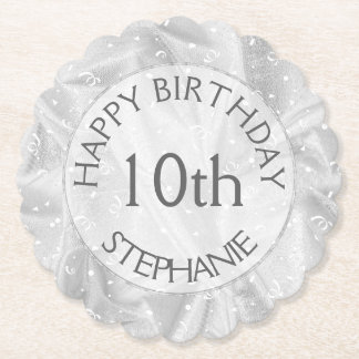 "Personalize: ""Happy Birthday"" Silver Textured Paper Coaster"