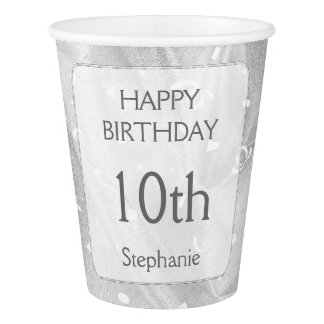 "Personalize: ""Happy Birthday"" Silver Textured Paper Cup"