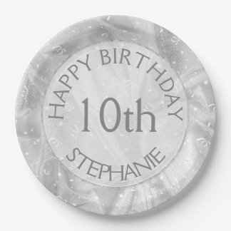 """Personalize: """"Happy Birthday"""" Silver Textured Paper Plate"""