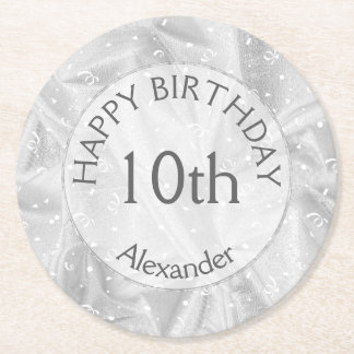 """Personalize: """"Happy Birthday"""" Silver Textured Round Paper Coaster"""