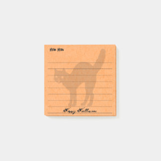 Personalize:  Happy Halloween Black Cat Orange Post-it® Notes