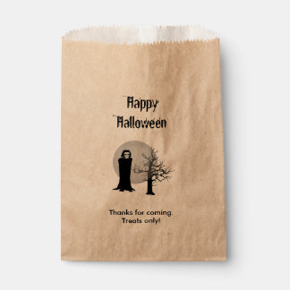 Personalize Happy Halloween Reaper Illustration Favour Bags