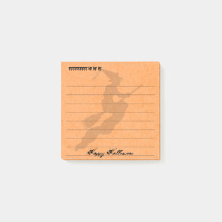Personalize:  Happy Halloween Witch Orange Post-it® Notes