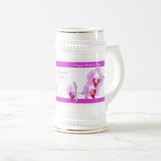Personalize: Happy Mother's Day Orchid Photography Beer Stein
