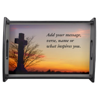 (Personalize) Holy Cross at Sunset Serving Tray
