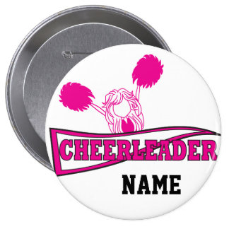 Personalize Hot Pink Cheerleader Girl 10 Cm Round Badge