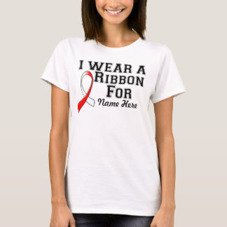 Personalize I Wear a Red and White Ribbon T-Shirt