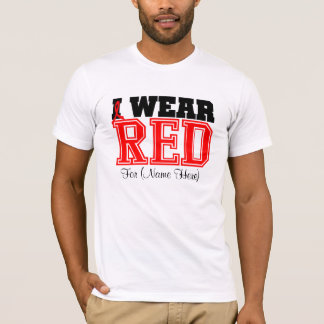 Personalize I Wear Red Blood Cancer T-Shirt