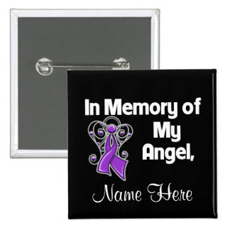 Personalize In Memory Angel Pancreatic Cancer 15 Cm Square Badge