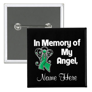 Personalize In Memory of My Angel Liver Cancer 15 Cm Square Badge