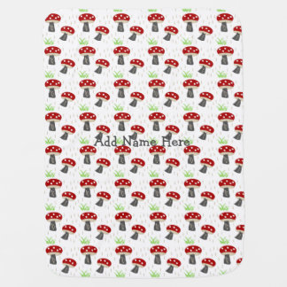 Personalize it! Mushroom meadow baby Swaddle Blankets