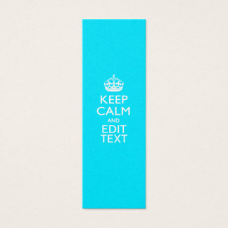 Personalize Keep Calm Your Text Turquoise Blue Mini Business Card