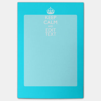 Personalize Keep Calm Your Text Turquoise Blue Post-it Notes