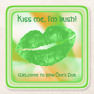 "Personalize ""Kiss me I'm Irish"" Abstract (SQ) Square Paper Coaster"