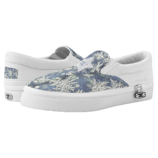 Personalize: Macro Nature Photo of Frost on Blue Printed Shoes