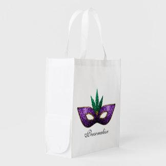 Personalize Mardi Gras Mask Purple Green Sparkles Reusable Grocery Bag