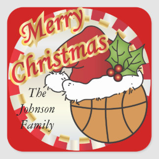 Personalize Merry Christmas Basketball Square Sticker
