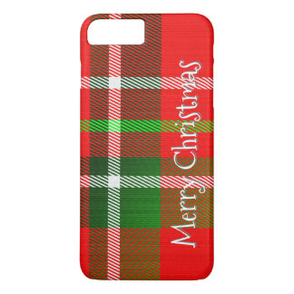 "Personalize ""Merry Christmas"" Tartan Plaid Pattern iPhone 8 Plus/7 Plus Case"