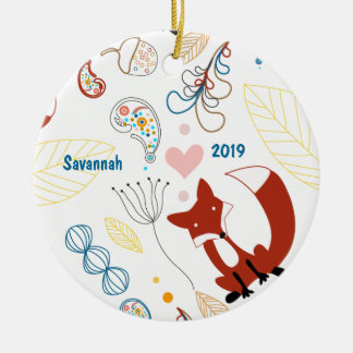 Personalize Modern Fox  Woodland Pattern Christmas Ornament