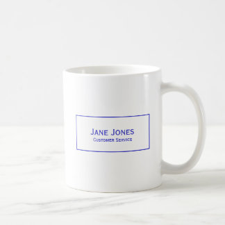 Personalize:  Modern Minimalist Blue and White Coffee Mug
